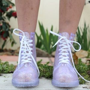 Urban Outfitters Sparkle Clear Combat Jelly Boots✨